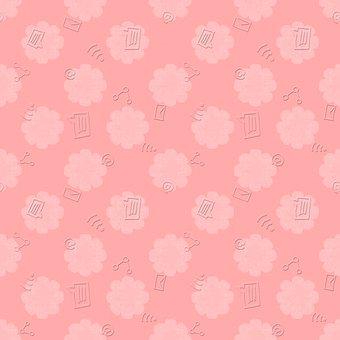 Internet, Doodle, Pink, Embossed, Flowers, Spring