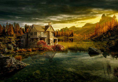 House, Lake, Mountains, Water, Reflection, Building