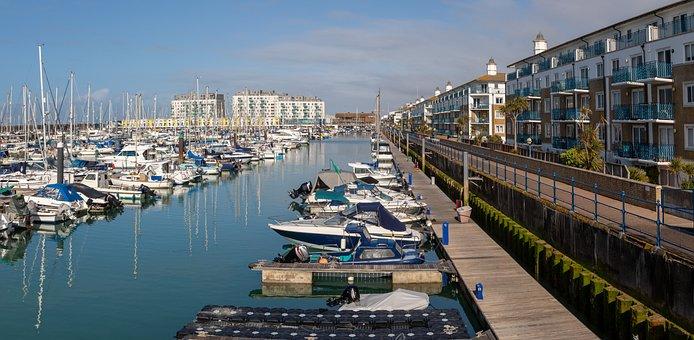 Brighton Marina, Panorama, Houses, Boating, Sea, Port