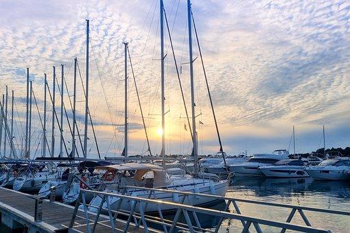 Marina, Sunset, Yachts, Sailboats, Wharf, Jetty, Pier