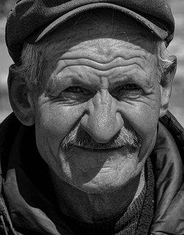 Man, Senior, Portrait, Black And White, Face, Elderly