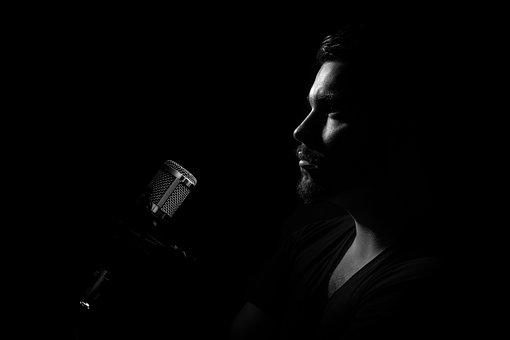 Man, Microphone, Profile, Portrait, Podcast, Singer
