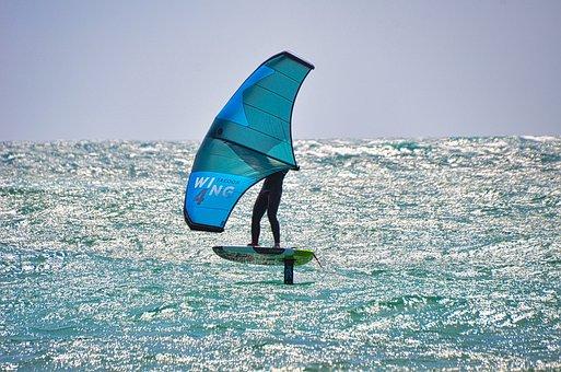 Kitesurfing, Ocean, Sea, Surf, Surfer, Wind