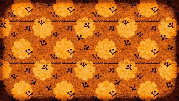 Flowers, Pattern, Earth Tones, Abstract, Orange, Brown