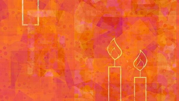 Candles, Dots, Orange, Pattern, Abstract, Flame