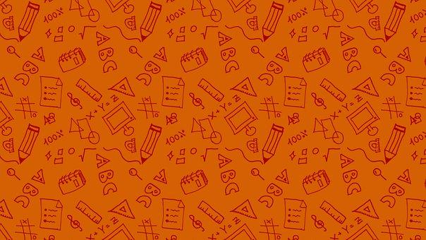 Education, Doodle, Orange, Pattern, Seamless