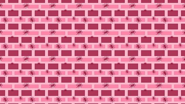 Computer Chip, Brick, Pattern, Wall, Stone, Pink
