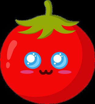 Tomato, Face, Kawaii, Cute, Red Tomato, Happy, Emoji