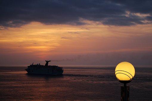 Ship, Sea, Lantern, Sunset, Dusk, Twilight
