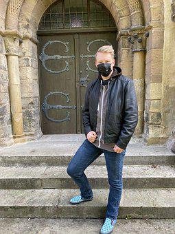 Man, Face Mask, Adult, Leather Jacket, Jacket, Person