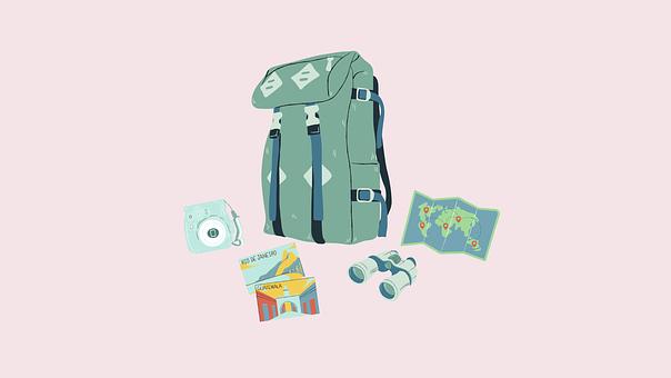 Backpack, Travel, Hiking, Camera, Binoculars, Map
