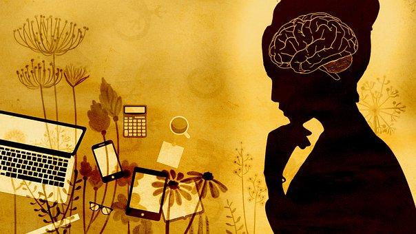 Woman, Brain, Thinking, Reflection, Technology, Nature