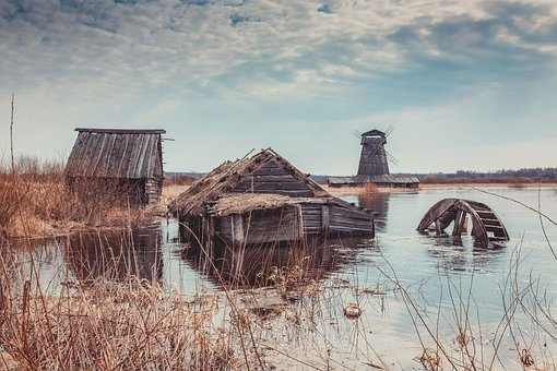 Cabins, Houses, Windmill, Lake, Flood, Valley, Village