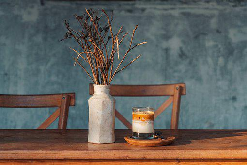 Flower Vase, Dried Flowers, Candle, Table, Interior
