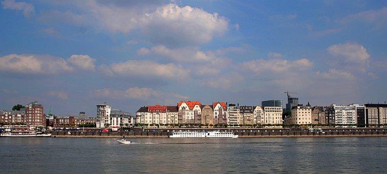 Ship, River, Bank, Rhine, City, Düsseldorf, Panorama