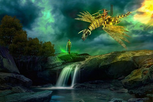 Man, Warrior, Dragon, Fighter, Trees, Hills, Rock