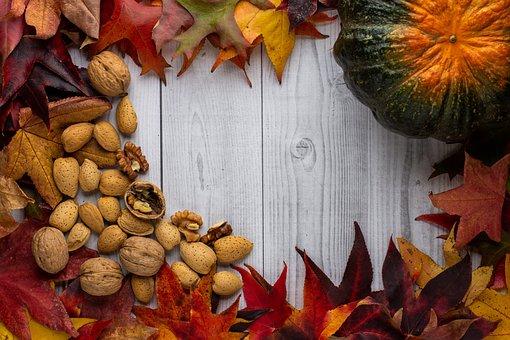 Pumpkins, Nuts, Leaves, Table, Kitchen, Autumn