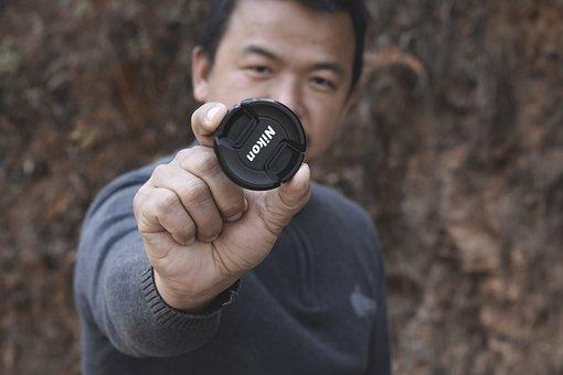 Nikon, Lens Cap, Man, Camera, Dslr, Equipment