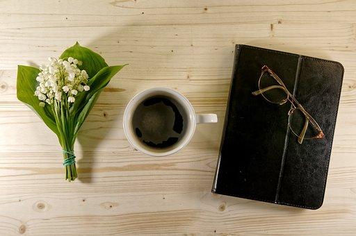 Coffee, Agenda, Flowers, Notebook, Glasses, Journal