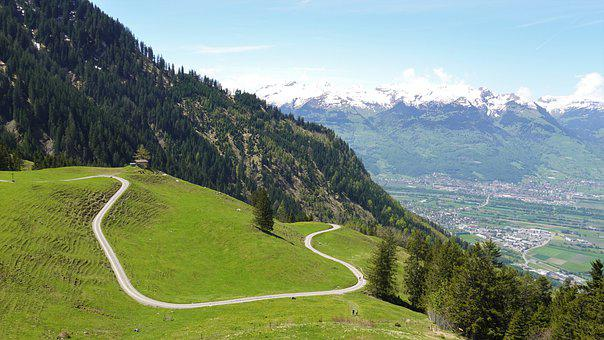 Mountain, Road, Pathway, Hills, Panorama, Trees, Forest
