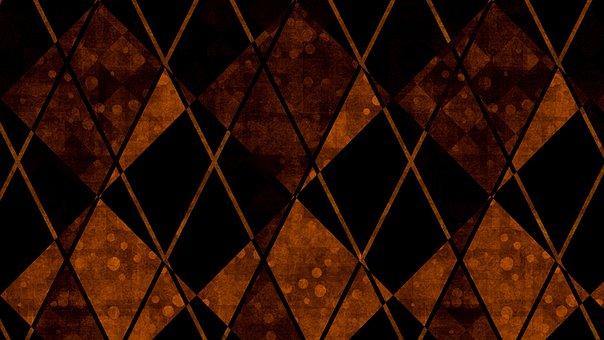 Rhombus, Pattern, Dark, Brown, Orange, Abstract