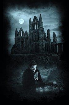 Man, Praying, Ritual, Witchcraft, Skull, Bones, Candles