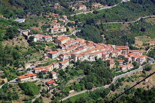 Castle, Ruins, Village, Church, Mountain, Streets