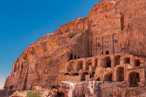 Petra, Jordan, Royal Tombs, Sand Stone, Antique