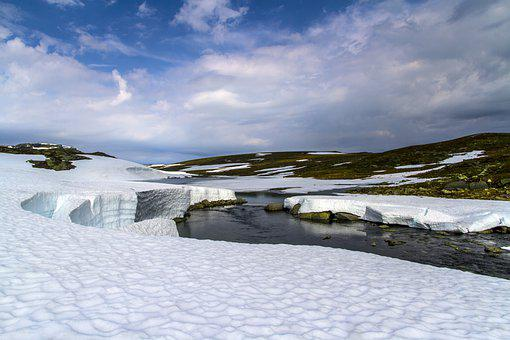 Mountain, River, Ice, Frozen, Snow, Water, Nature, Sky
