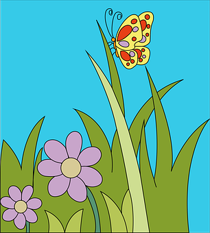 Meadow, Butterfly, Flowers, Grass, Spring, Nature