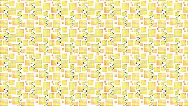 Square, Wavy, Pattern, Abstract, Geometric, Yellow