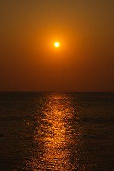 Sunset, Sea, Ocean, Horizon, Sun, Dusk, Sunrise, Dawn