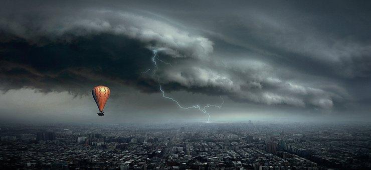 Hot Air Balloon, Thunderstorm, Fantasy, City, Lightning