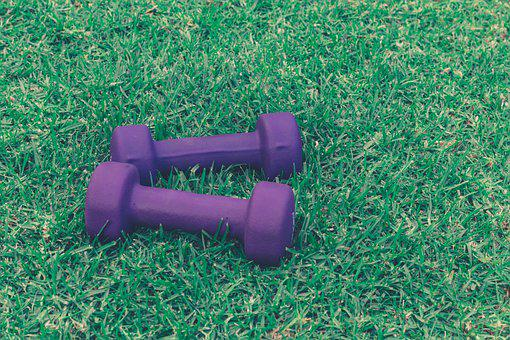 Dumbbells, Weights, Grass, Fitness, Sports, Training