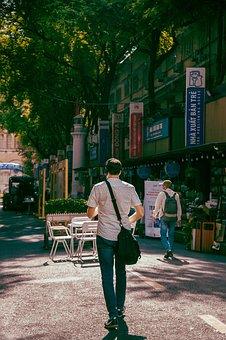 Man, Street, Road, Walking, Tourist, Summer, Urban