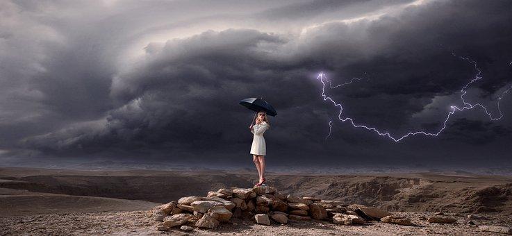 Thunderstorm, Flash, Fantasy, Woman, Girl, Umbrella