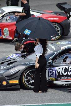 Woman, Ferrari, Racing Car, Race Track, Vehicle, Auto