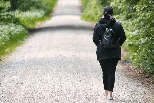 Woman, Walk, Gravel Road, Stroll, Relaxation, Girl