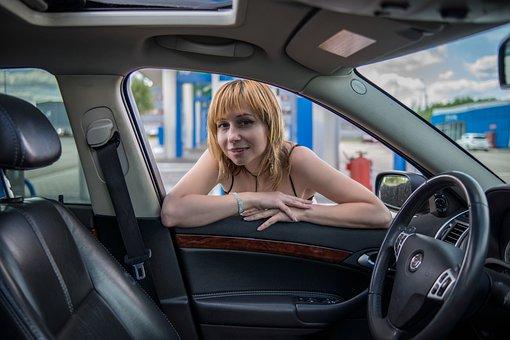 Car, Woman, Model, Girl, Door, Vehicle, Interior, Auto