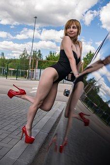 Woman, Model, Car, Door, Vehicle, Auto, Heels