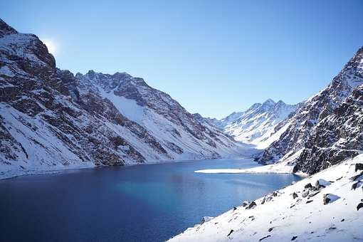Lake, Mountains, Snow, Water, Snowy, Winter