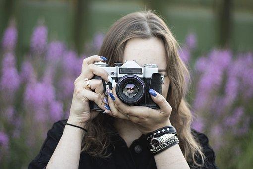 Girl, Camera, Photographer, Portrait, Photo, Photoshoot