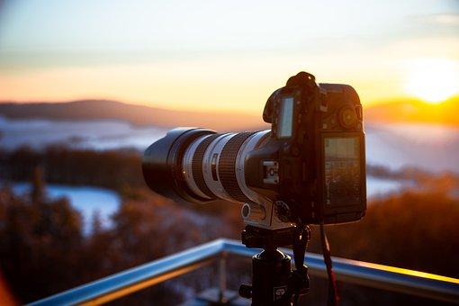 Camera, Snow, Tripod, Telephoto Lens, Photography