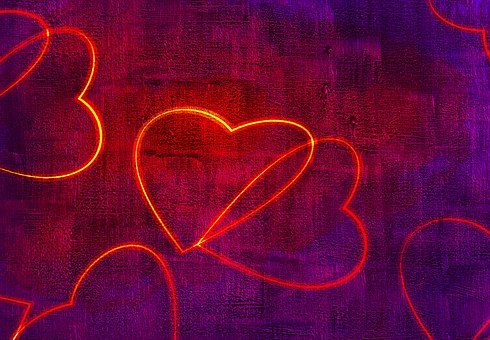 Hearts, Neon, Texture, Love, Lights, Bright, Wood