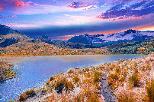 Lake, Mountains, Grass, Bank, Water, Path, Trail