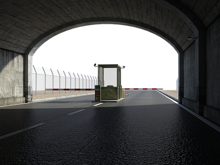Tunnel, Road, Barrier Arms, Pavement, Underpass, Exit