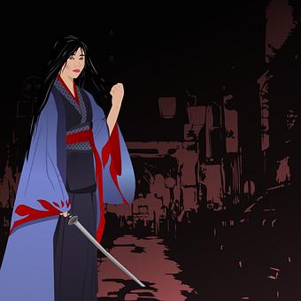 Woman, Warrior, Lady, Ninja, Weapons, Sword, Portrait