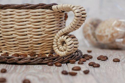 Coffee, Brown, Beige, Cup, Handmade, Weaving, Mug