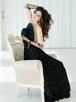 Woman, Black Dress, Fashion, Jewelry, Hat, Beauty