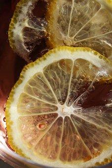 Lemon Slices, Citrus, Drinking Glass, Beverage, Bubbles